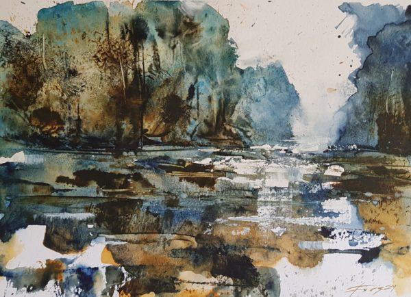 Trees & rocky river